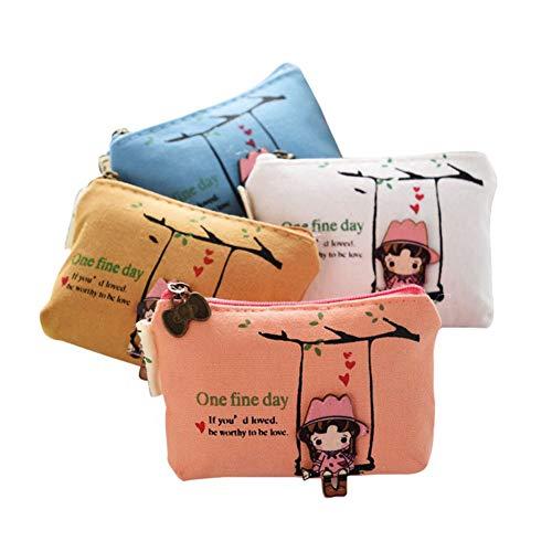 BIGBOBA 4 Stück Mini Leinwand Münzbörsen für Damen Kosmetiktäschchen Kleine Make-up Taschen niedliche Brieftasche Münztüte Aufbewahrungstasche für schlüssel, Headset, Lippenstift, Karte