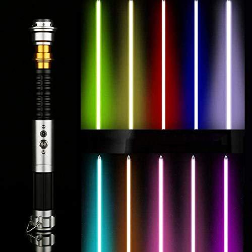 Y&Z Juguete de Espada de Sable de luz, 11 Colores Que cambian 5 Sonidos, Foc Lightsaber Fx Heavy Dueling, Mango de Metal para niños, Adultos, Fiesta de Vacaciones, Cosplay (Hoja de 40 cm)
