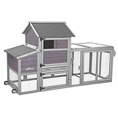 Aivituvin 81' Portable Chicken Coop with Wheel, Large Hen House with UV Run Roof, Expandable Poultry Cage- Easy Combination with The Second Coop