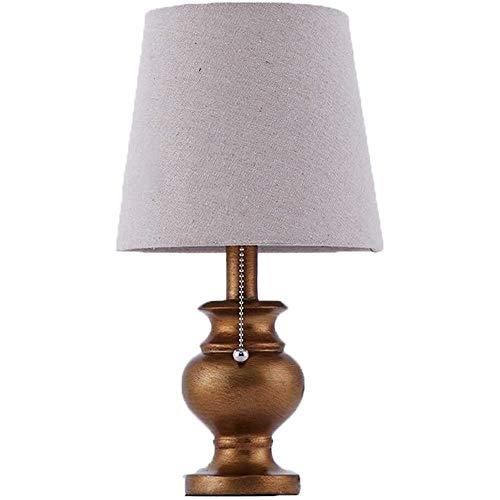 Wotbxchbbtde Retro lámpara de mesa de resina, pantalla de la tela, conmutador de extracción, estilo americano, linterna turística for sala de estar Home Office Estudio de decoración del dormitorio lám