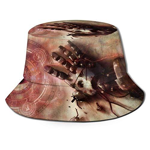 dongwan Fullmetal Alchemist Fisherman - Sombrero de pescador transpirable con impresión completa, sin deformación, adecuado para cualquier estación, unisex