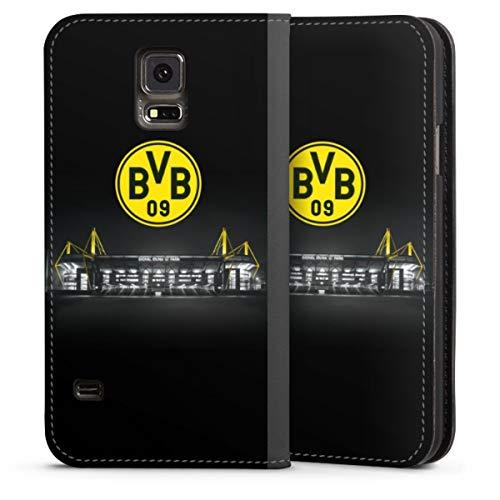 DeinDesign Klapphülle kompatibel mit Samsung Galaxy S5 Handyhülle aus Leder schwarz Flip Case BVB Stadion Borussia Dortmund