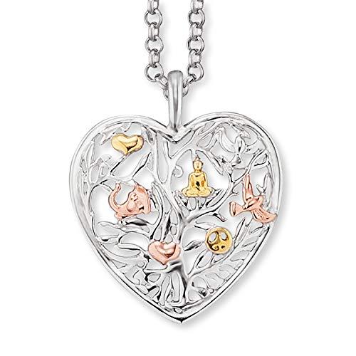 Engelsrufer - Damen Silber Halskette mit Lebensbaum Herz Anhänger, Tricolor Kette mit Herzanhänger und Baum des Lebens Motiv, elegante Damenkette aus 925 Sterlingsilber
