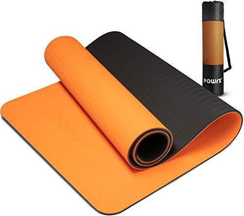 POWRX Yogamatte Deluxe inkl. Tragegurt + Tasche I Gymnastikmatte Übungsmatte 171x61x1cm rutschfest für Yoga Pilates I WELTNEUHEIT einzigartige Innovative 3-Lagen-Technologie Orange + Schwarz