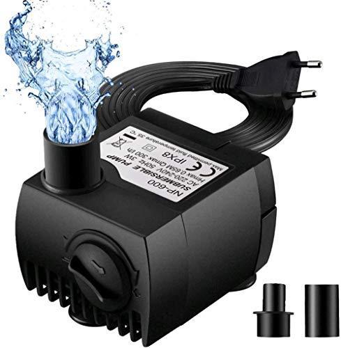 HAOT Pompe à Eau pour Fontaine Mini Pompe à Eau résistant à la Combustion à Sec (48h) Petite Pompe Submersible pour Jardin de Fontaine pour étang d'aquarium Buses de câble sans Bruit 300L / H