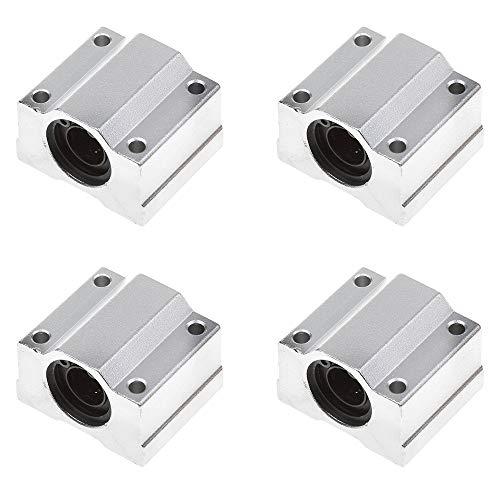 Gobesty Movimiento Lineal de Rodamientos a Bolas, 4 piezas SCS8UU Rodamiento Lineal Bloque Deslizante Cojinete con 8 mm de diámetro (plateado)