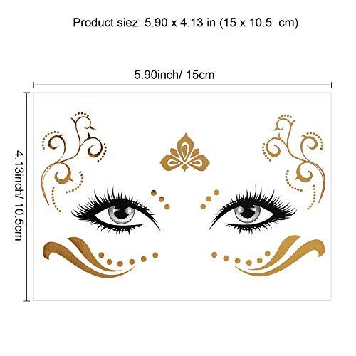 Konsait 8 Sheets Face Tattoo Sticker Metallic Temporary Transfer Tattoo Waterproof Face Jewels for Women Girls Make Up Dancer Costume Parties, Shimmer Glitter Gold Tattoos,Scale Tears Butterfly Freckl 7