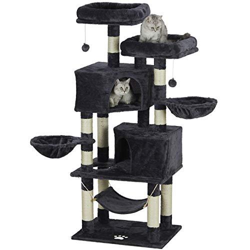 MSmask Kratzbaum für Katzen 145cm hoch, mittelgroßer Kletterbaum Katzenbaum, stabile Säulen mit Sisal, für Häuser, Liegemulden,Hängematte, Farbe wählbar