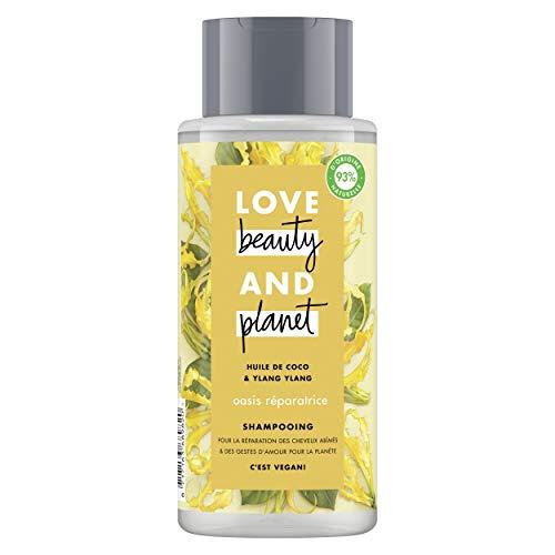 Love Beauty & Planet Shampooing Femme Vegan Oasis Réparatrice, Huile de Coco Bio et Fleur d'Ylang Ylang, Cheveux Abîmés Certifié Vegan 400ml
