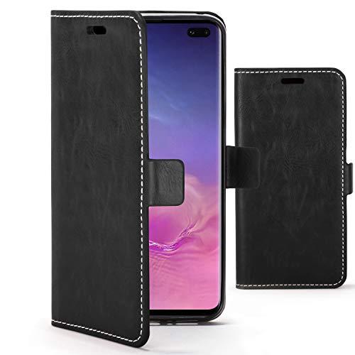 Forefront Cases Funda De Teléfono Premium para Samsung Galaxy S10 Plus / S10+ | Fabricado y Cosido A Mano | Billetera y Diseño Multifuncional | Protección Doble contra Golpes y Caídas | Negro