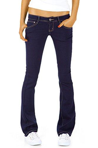 bestyledberlin Damen Hüftjeans Jeanshosen, Bootcutjeans – Stretchjeans gerades Bein j43kw 40/L