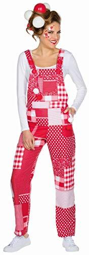 Mottoland Damen Kostüm Patchwork Latzhose rot-weiß Karneval Fasching Gr.L
