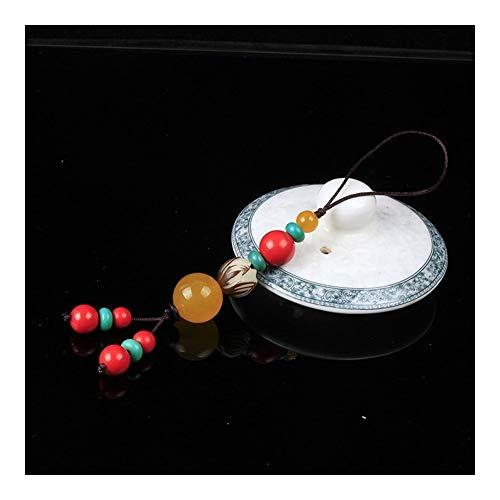 LSBXWL Llavero Collar La Turquesa Natural orgánica roja cinabrio Accesorios Clave Hebilla Suerte Amuleto Llavero Tallado a Mano Mujer Hombre Suerte Amuleto Nueva