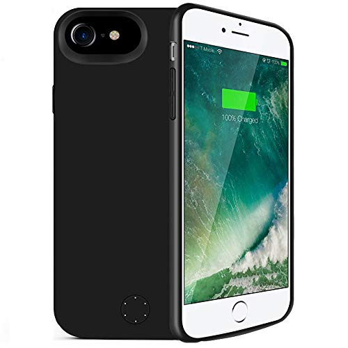 iPhone 6/6s/7/8 Battery Case,80sbrothers [5000mAh] iPhone 6/6s/7/8 Portable Charger,Portable Rechargeable Protective Charging Case,Support Lightning Earphone and Sync-Though(Black)