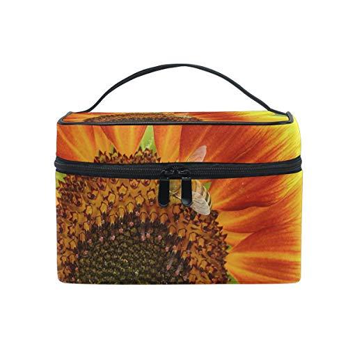 Sunflower Bee Summer Nature Trousse de Maquillage de Voyage Organisateur pour Femme Fille Trousse de Toilette Portable Rangement Cosmétique Pouch en Toile