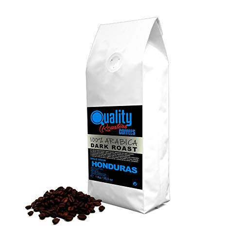Natürliche Kaffeebohnen. Dunkle Röstung. 100 % Arabica. Einzigartige Herkunft Honduras, 1kg. Von Hand geröstet.