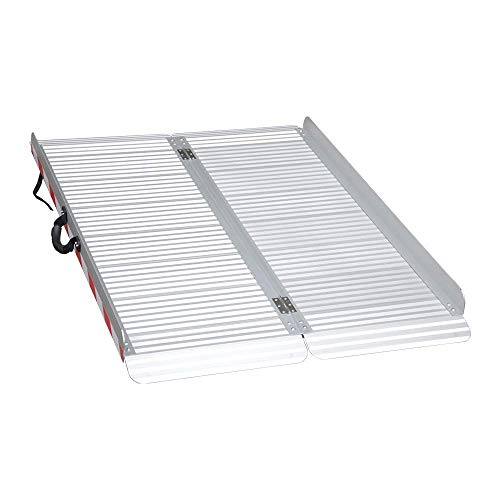 LIEKUMM 120x85cm Tragbare Rollstuhlrampe,Breitere faltbare Aluminium-Rampe für Treppen,Türschwelle usw,Rutschfeste Oberfläche, Tragflähigkeit 400kg (MR607X-4)