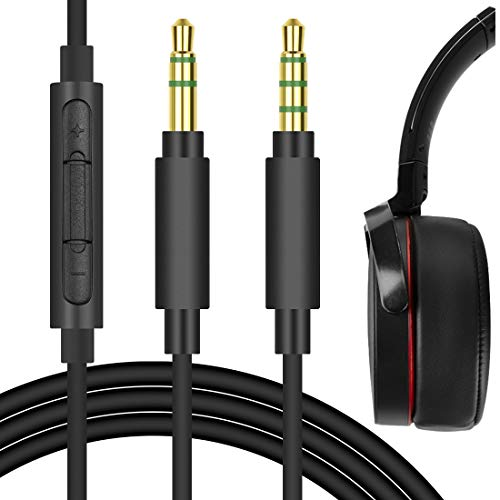 Geekria QuickFit Replacement Audio Cable for SONY WH-1000XM3, WH-1000XM2, WH-XB900N, WH-CH700N, MDR-XB950BT, MDR-XB950N1 Headphones - 3.5mm Stereo Cord with Microphone and Volume Control (Black 5.6FT)