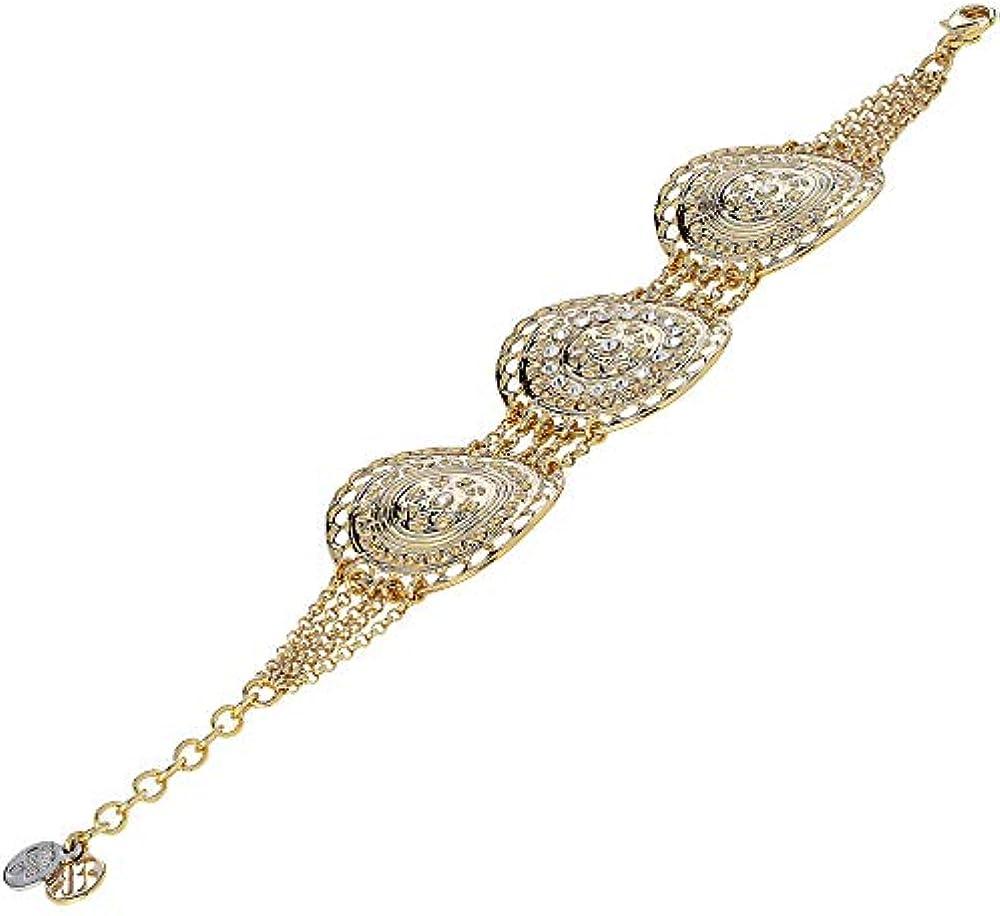 Boccadamo,  bracciale multifilo in bronzo placcato oro giallo con centrale semirigido, per donna Xbr699D