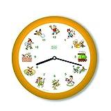 KOOKOO KinderLieder Amarillo, pequeño Reloj de Pared, 21cm,