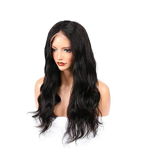 Generic Natural Lace Wig Long Curly Wavy Synthetic Résistant à la chaleur Fiber Hair Lady Wig Convient pour les rassemblements de tous les jours-Cheveux bouclés noirs et longs