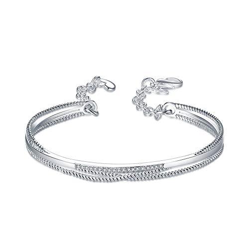nobrand Massives Sterling Silber Charm Armband Frauen Link Chain Bracelet Armreif