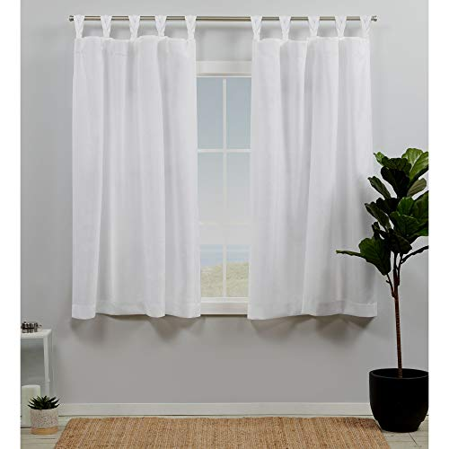 Exclusive Home Curtains Loha Linen Braided Tab Top Curtain Panel Pair, 54x63, Winter White