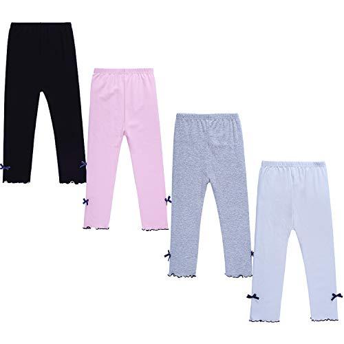 DOCHY Little Girls Leggings 4 Pack Baby Cotton Leggings Toddler Pants Girls for School Uniform Play