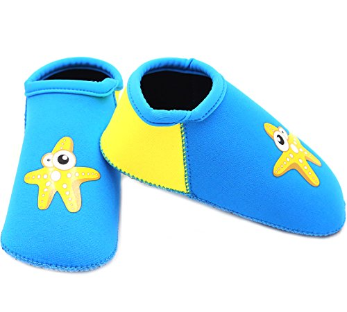 SUIEK Baby Boys Girls Swim Water Shoes Infant Pool Beach Sand Barefoot Aqua Socks (S (Sole Length 4.9 inches, 6-12 Months), Blue)