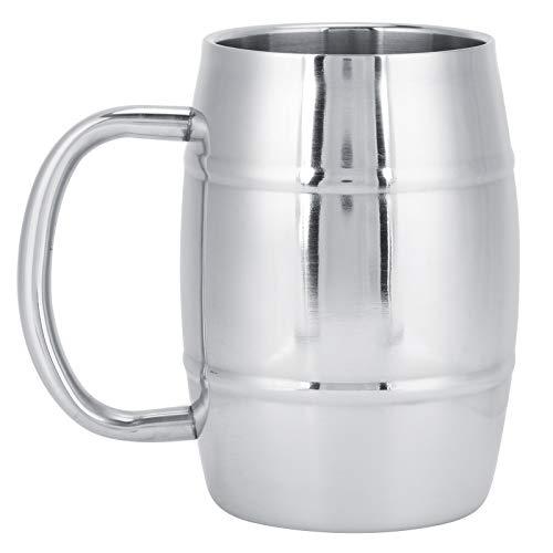 Taza de cerveza-500ml Multifuncional 304 Taza de cerveza de acero inoxidable de doble capa Taza de café para acampar al aire libre con asa