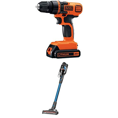 BLACK+DECKER 20V MAX Cordless Drill/Driver with POWERSERIES Extreme Cordless Stick Vacuum, Blue (LDX120C & BSV2020G)