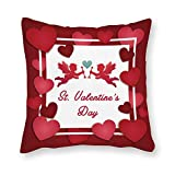 Yilooom Cupid and Happy Valentine's Day Canvas Square Throw Pillow Cases Cushion Covers for Bed Sofa Couch Car 24 X 24 Inch