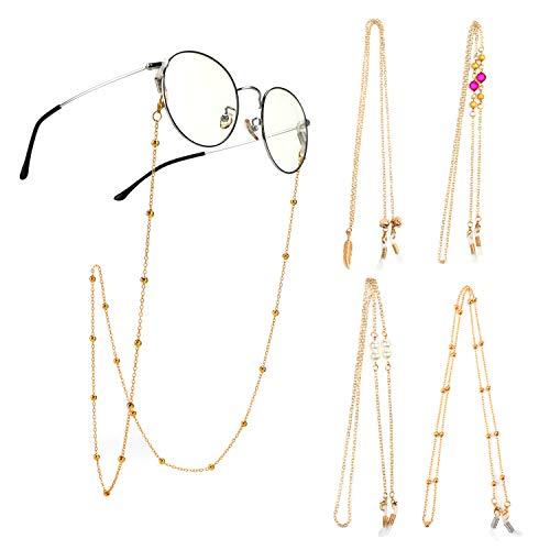 Hifot Brillenband Brillenbänder 4 Stück, Brillenkette gold Lesebrillen Kette, Brillenschnur Sonnenbrillen Band Brillen Kordel Halter damen herren Metall