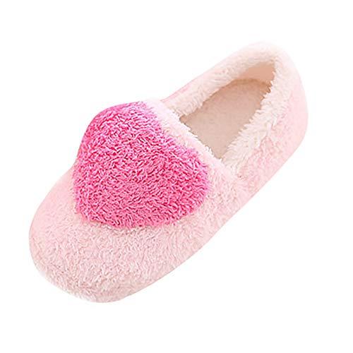 Pantuflas para Mujer, Cálido Mullido Pantuflas, Dedo del pie Cerrado, Zapatos Warmer Peluche, Zapatillas de Estar por casa con Suela Antideslizante Adecuado para Interiores y Exteriores ,Rosado,40