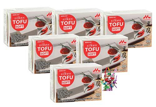 yoaxia ® - 6er Pack - [ 6x 340g ] Mori-Nu Morinaga - Silken Tofu SOFT - Glutenfrei + ein kleines Glückspüppchen - Holzpüppchen
