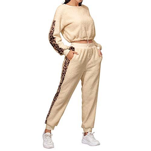 2 Piezas Chándal de Mujer Conjunto de Traje Deportivo Camiseta de Manga Larga Pantalones Largos Ropa Suelta y Cálida de Casa con Estampado de Leopardo Casual (Dorado, S)