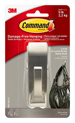 Command Modern Reflections Metal Hook, Large, Brushed Nickel, 1-Hook (MR03-BN-ES), Decorate Damage-Free