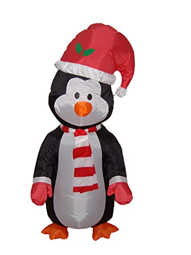 BZB Goods 4 Foot Christmas Inflatable Cute Standing Penguin Yard Decoration LED Lights Decor Outdoor Indoor Holiday Decorations, Blow up Lighted Yard Decor, Lawn Inflatables Home Family Outside