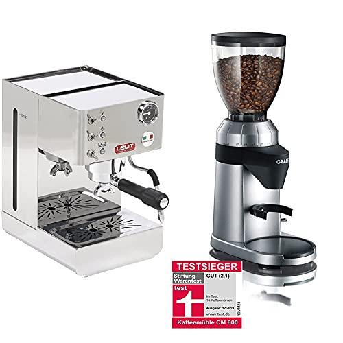 Lelit Anna PL41LEM semi-professionelle Kaffeemaschine, ideal für Espresso-Bezug, Cappuccino und Kaffee-Pads-Edelstahl-Gehäuse, Stainless Steel, 2 liters, silber & Graef Kaffeemühle CM 800