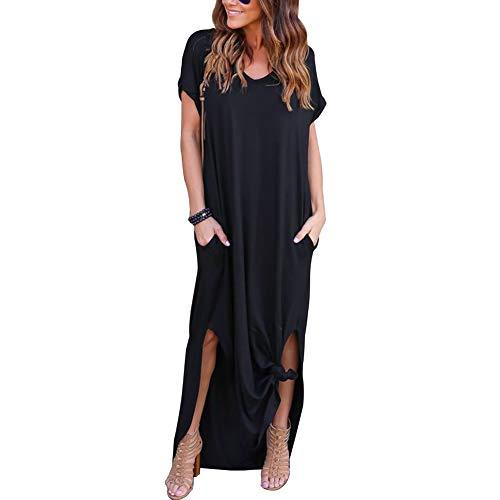 VisSec Damen Casual Lose Maxi Kleider Sommerkleid Elegant Kurzarm V Ausschnitt Kleid Strandkleid Lässige Ärmelloses Lang Maxi-Tank-Kleid (Schwarz, S)