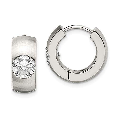 Stainless Steel CZ Brushed And Polished Round Hinged Hoop Earrings