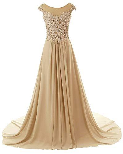 Abendkleider Ballkleider Brautjungfernkleid Hochzeitskleider Lang Chiffon A Linie Champagner EUR40