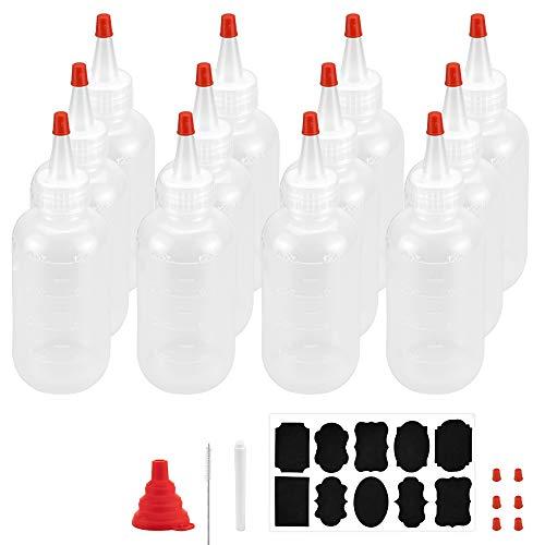 TANCUDER 12 Stück Quetschflasche Liquid Flasche 120 ml Squeeze Flasche Plastik Quetschflasche mit roten Spitzen Kappen, 1 Falttrichter, 1 Bürste, 1 Aufkleber und 1 flüssige Kreide für Handwerk