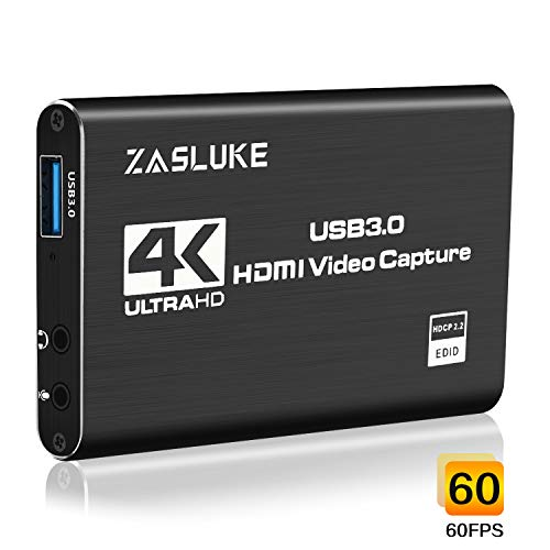 ZasLuke Game Capture Card, 4K USB 3.0 HDMI Capture Card mit 1080P 60FPS HDMI-Loop-Out Live-Streaming für PS4, Xbox One&Xbox 360 und Mehr