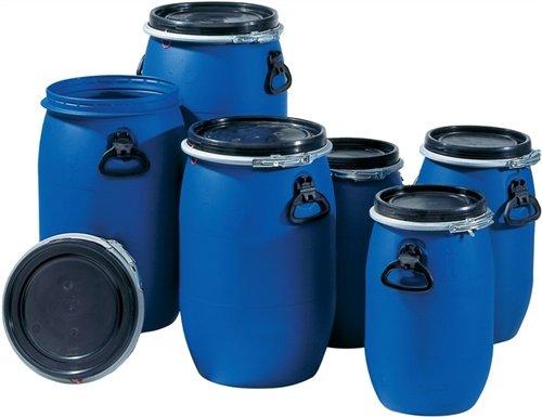 Kunststoff-Weithalsfass PE 120 L blau m. UN-Kennzeichnung