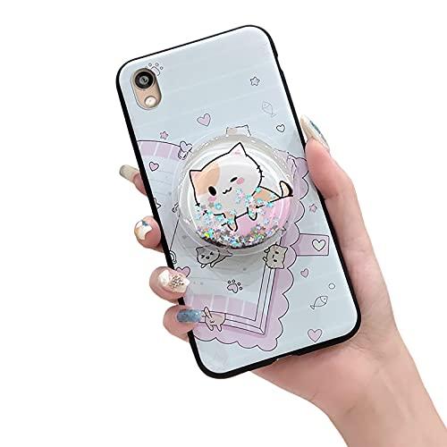 Stars - Carcasa para Huawei Honor 8S/Y5 2019/Play 3E, TPU contraportada antipolvo, diseño original a prueba de golpes, antigolpes, antigolpes, con purpurina, diseño de gato rosa y libro