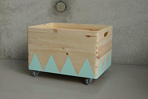 Holz Spielzeugkiste Türkis - Rollen Triangel skandinavisch