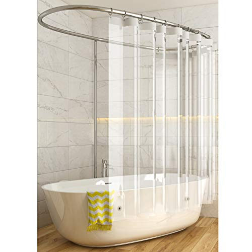 Caitlin White Heavy Duty 10 Gauge Clear PEVA Shower Curtain Liner, Mildew Resistant, Odorless, Eco Friendly, 72x72 Inches with Magnets