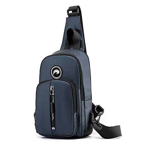 BeniBolso de pecho de los hombres Bolso diagonal de la moda Multifunción USB Cargando bolsa de pecho-azul marino