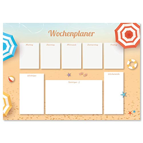 Protector de escritorio Beach de papel, DIN A3, 24 hojas, para niños y adultos, ideal como bloc de notas, organizador, planificador semanal y planificador diario